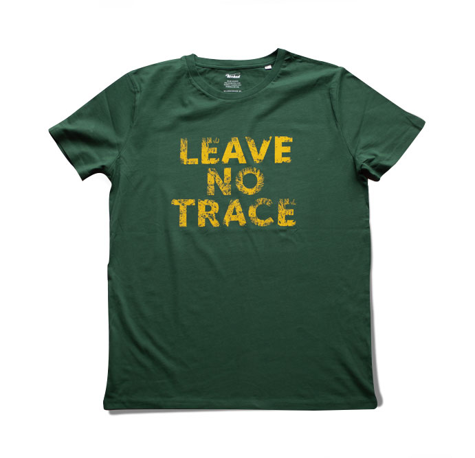 HOOKED - T-SHIRT leave no trace green and yellow